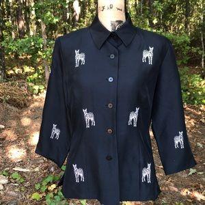 Silkland Black Zebra Button-Up Pure Silk Top 8 GUC